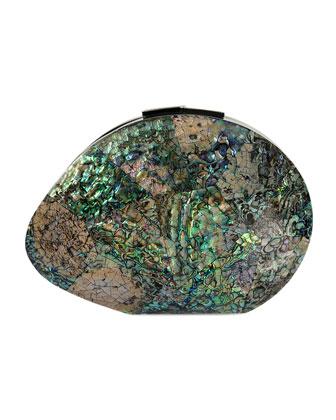 Sirene Shell Minaudiere, Paua Blue