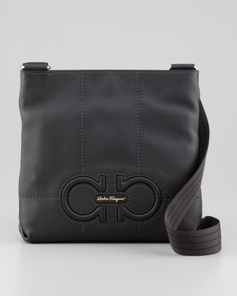 Isi Gancini Leather Crossbody Bag, Black