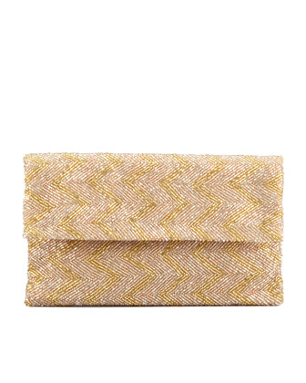 Chevron Beaded Flap-Top Clutch Bag, Taupe/Gold