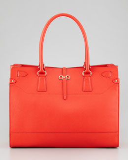 Salvatore Ferragamo Briana Large Leather Tote Bag, Coral
