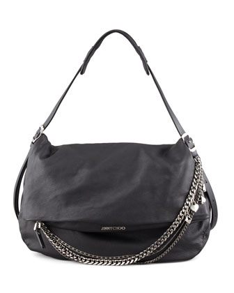 Biker Large Hobo Bag, Black