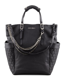 Jimmy Choo Blaze Leather Tote Bag, Black