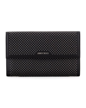 Reese Large Studded Clutch Bag, Black