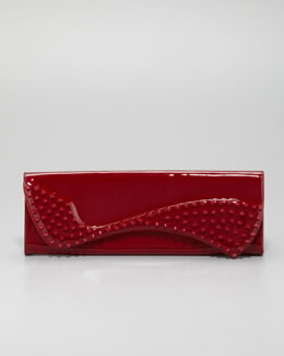 Christian Louboutin Pigalle Spikes Patent Clutch Bag, Red