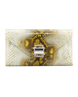 Kara Ross Electra Medium Python Clutch, Yellow