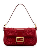 Embroidered Leather Baguette Shoulder Bag, Burgundy