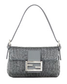 Beaded Mini Baguette, Gray