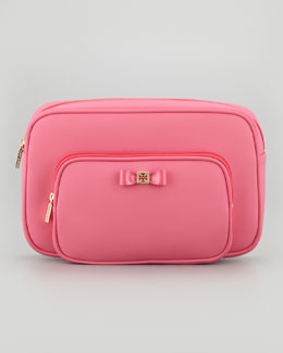 Tory Burch Neoprene Twin Bow Cosmetic Case, Strawberry