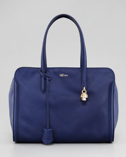 Alexander McQueen New Skull Padlock Zip-Around Tote Bag, Royal Blue