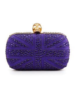 Alexander McQueen Crystal Britannia Box Clutch Bag, Purple