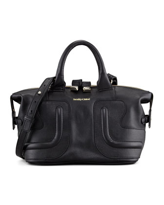 Kay Leather Satchel Bag, Black