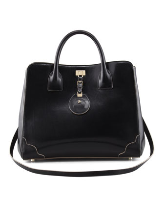 Jourdan Leather Turn-Lock Tote Bag, Black