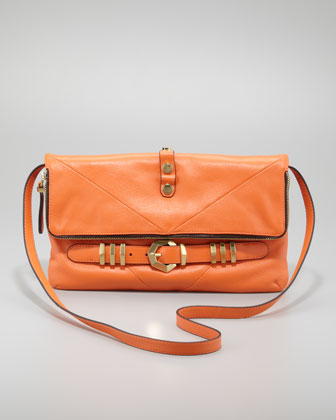 Rocker Flap-Top Crossbody Bag, Orange