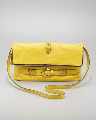 Rocker Flap-Top Crossbody Bag, Lemon