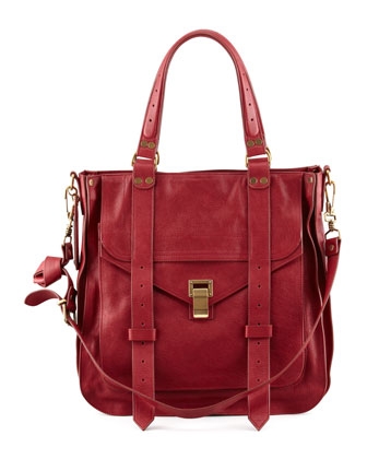 PS1 Small Leather Tote Bag, Red