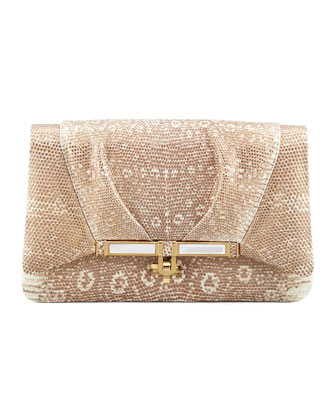 Priscilla Lizard Clutch Bag, Gold