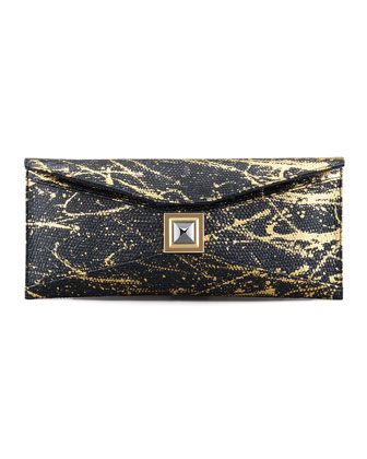 Prunella Stretch Lizard Clutch Bag, Black/Gold