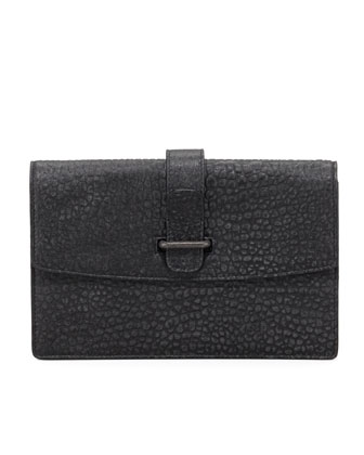 Laura Pebbled Clutch Bag, Gray