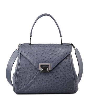 Trinity Ostrich Satchel Bag, Navy