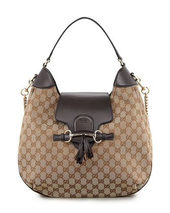 Emily GG Chain-Strap Hobo Bag, Brown