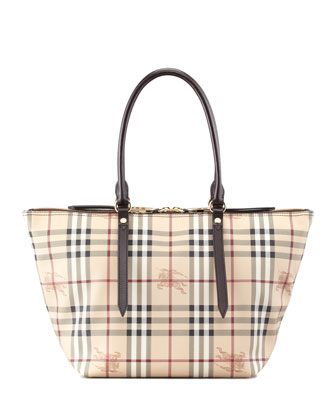 Small Two-Way Zip Check Tote Bag, Chocolate