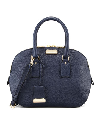 Medium Heritage Leather Satchel Bag, Navy