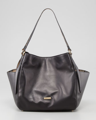 Small Leather Tote Bag with Pockets, Black