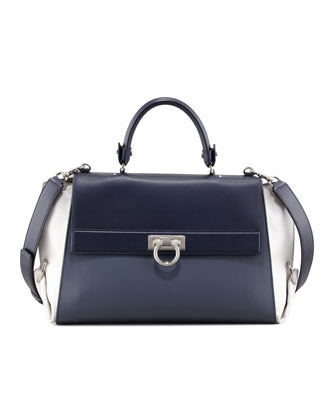 Sofia Leather Satchel Bag, Blue/Gray