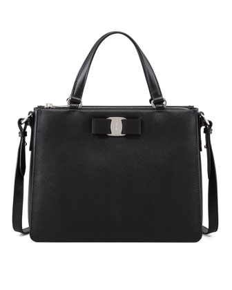 Tracy Saffiano Tote Bag with Vara Bow, Black