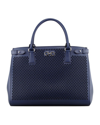 Batik Laser-Cut Tote Bag, Oxford Blue