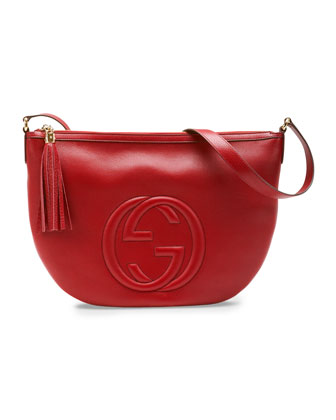 Soho Leather Messenger Bag, Red