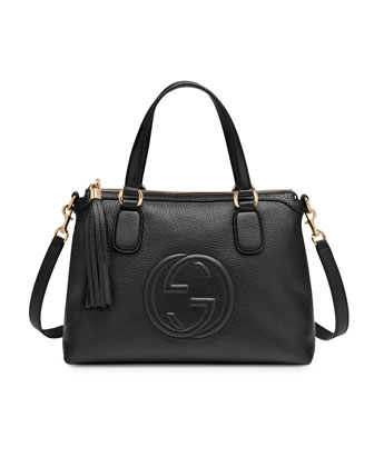Soho Leather Top Handle Bag, Black