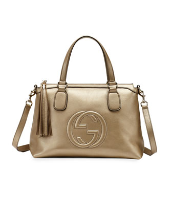 Soho Metallic Leather Top Handle Bag, Champagne