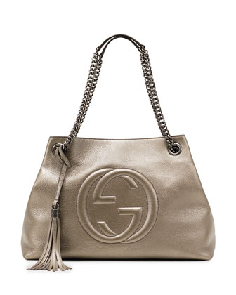 Soho Metallic Leather Shoulder Bag, Gunmetal