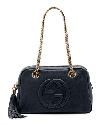 Soho Leather Double-Chain-Strap Shoulder Bag, Dark Blue