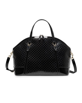 Gucci Nice Large Microguccissima Patent Leather Top Handle Bag, Black