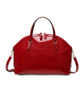 Gucci Nice Large Microguccissima Patent Leather Top Handle Bag, Red