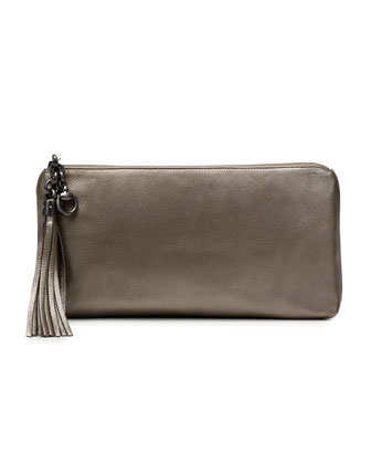 Broadway Metallic Leather Evening Clutch, Gunmetal