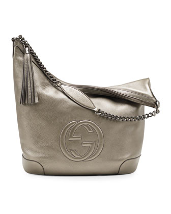Soho Metallic Leather Chain Shoulder Bag, Gunmetal