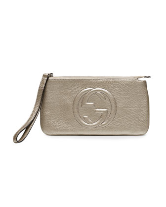 Soho Metallic Leather Wristlet, Gunmetal