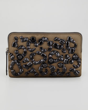 Beaded Small Satin Zip Clutch, Khaki Bag