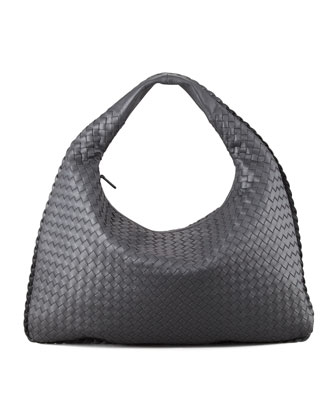 Intrecciato Woven Large Hobo Bag, Charcoal