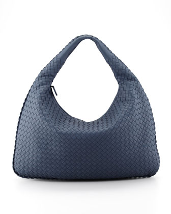 Intrecciato Large Hobo Bag, Blue