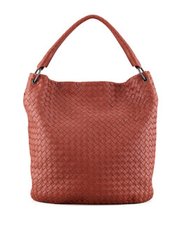 Bottega Veneta Veneta Woven Bucket Bag, Dark Red