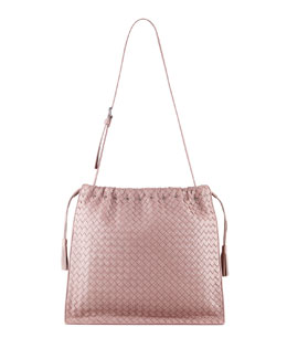 Bottega Veneta Large Drawstring Woven Shoulder Bag, Mauve