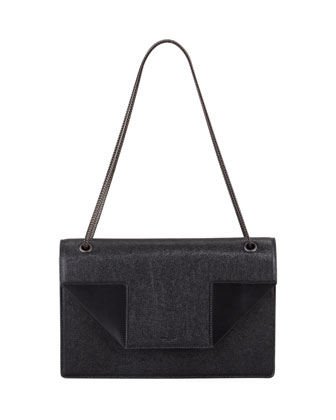Betty Medium Saffiano Chain Shoulder Bag, Black
