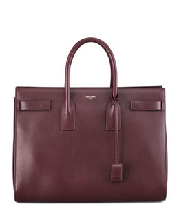 Saint Laurent Sac du Jour Large Carryall Bag, Wine