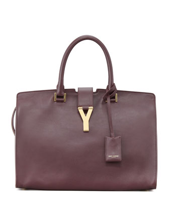 Classic Cabas Y-Ligne Leather Carryall Bag, Wine