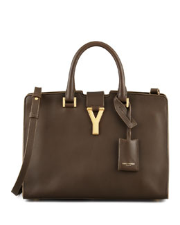 Saint Laurent Small Cabas Y-Ligne Leather Carryall Bag, Khaki