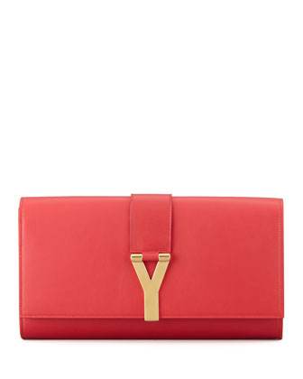 Y Ligne Clutch Bag, Red
